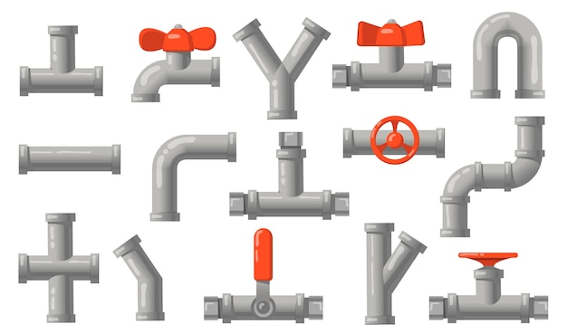 Plumbing pipes set. grey metal tubes with valves, industrial pipelines, water drains isolated . flat vector illustrations for engineering, connection system concept