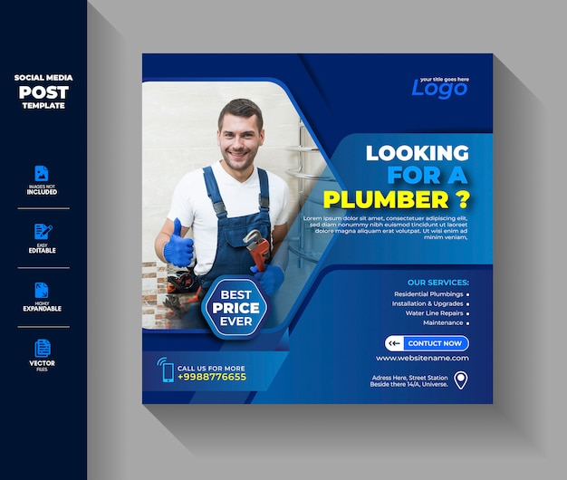 Plumbing plumber social media post instagram banner template