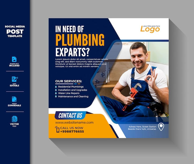 Plumbing or plumber social media post template