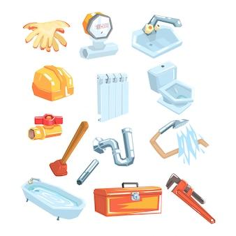 Набор инструментов и объектов, связанных с сантехникой