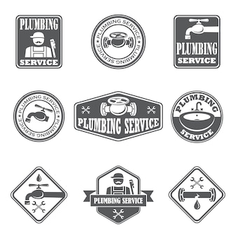 Plumbing service badges with water pipe plumber and tools isolated vector illustration