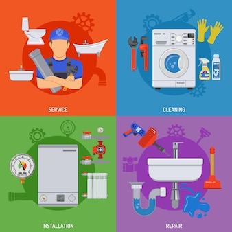 Plumbing service banners installation, repair and cleaning with plumber, tools, device, plumber wrench. flat style icons. isolated vector illustration