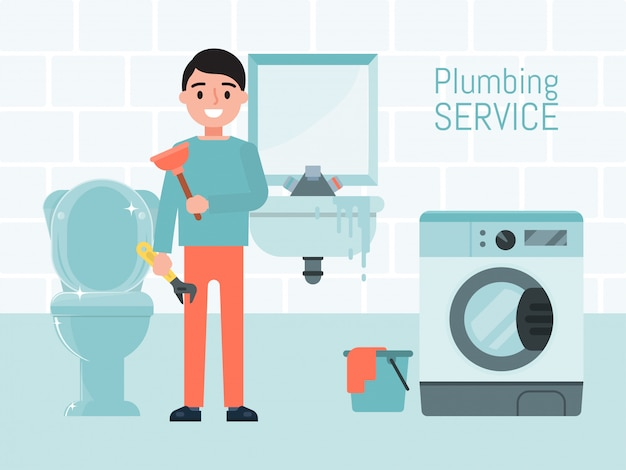 Plumbing service concept, character male worker   illustration. washing machine repair, toilet and sink. maintenance water supply system.