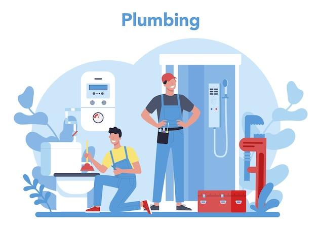 配管サービスのコンセプト。配管および浴室設備の専門的な修理および清掃。ベクトルイラスト。