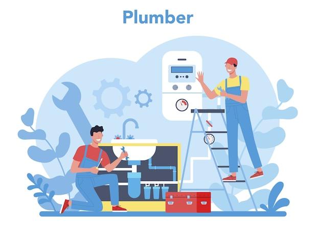 配管サービスのコンセプト。配管および浴室設備の専門家による修理および清掃。ベクトルイラスト。