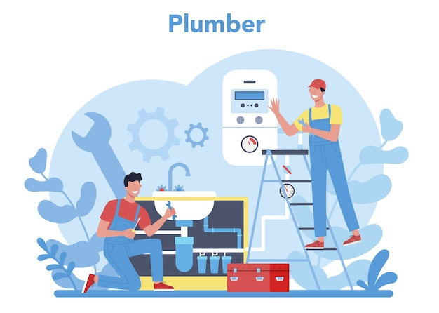 Plumbing service concept. professional repair and cleaning of plumbing and bathroom equipmen. vector illustration.