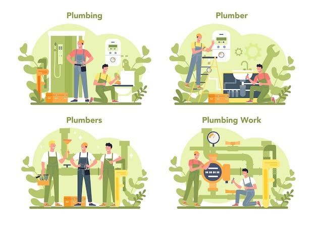 Plumbing service concept set