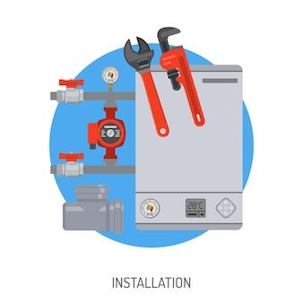 設置ボイラーと配管工ツールフラットアイコンを備えた配管サービスコンセプト。孤立したベクトル図。