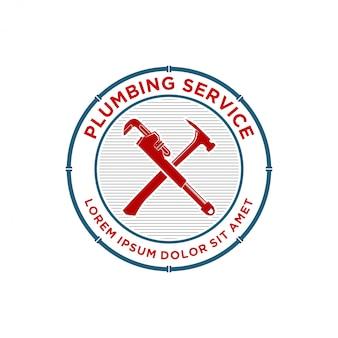 Plumbing service emblem or badge logo design