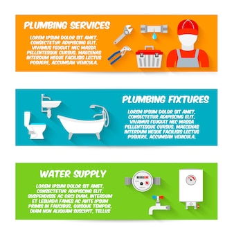 Plumbing service fixtures water supply horizontal banner template set isolated vector illustration