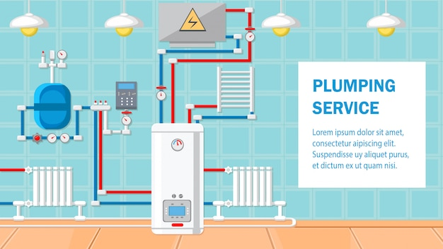 Plumbing service flat design vector illustration.