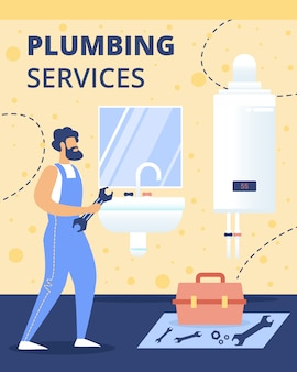 Plumbing service flat vector ad banner template