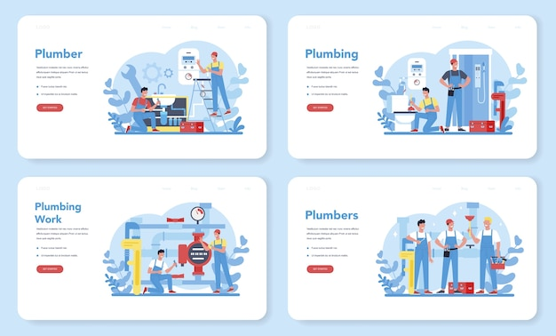 Plumbing service web banner or landing page set. professional repair and cleaning of plumbing and bathroom equipmen.