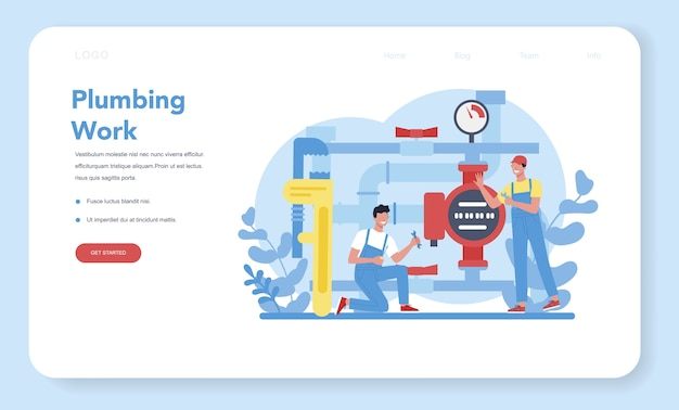 Plumbing service web banner or landing page