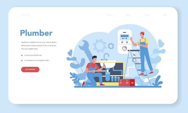 Plumbing service web landing page. professional repair and cleaning of plumbing and bathroom equipmen. vector illustration.