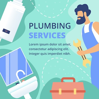 Plumbing services flat vector ad banner template