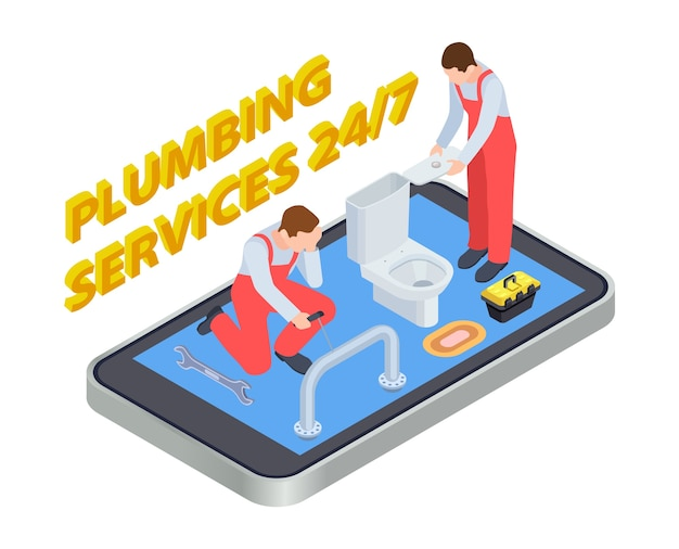 Plumbing services isometric. plumber online app concept. illustration plumbing bathroom, install and repair