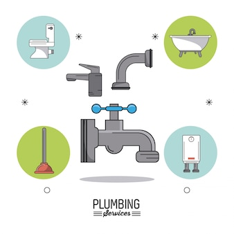 Plumbing services with faucets and plumbing bathroom icons