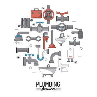 Plumbing services with icons set of plumbing