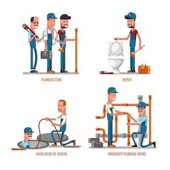配管工事。配管工と配管修理のイラスト。配管工のチームはパイプを修理します