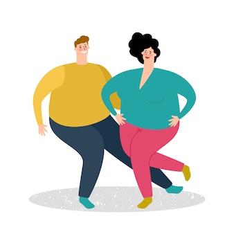 Plump dancing couple