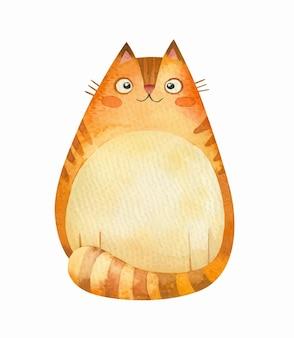 Пухлая рыжая кошка улыбается, изолированные на белом фоне