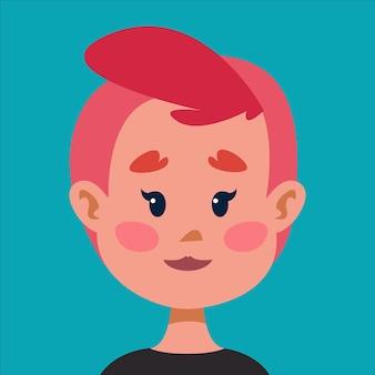 짧은 분홍색 머리를 가진 통통 소녀 lgbt 아바타 귀여운 캐릭터 벡터 일러스트 레이 션의 초상화