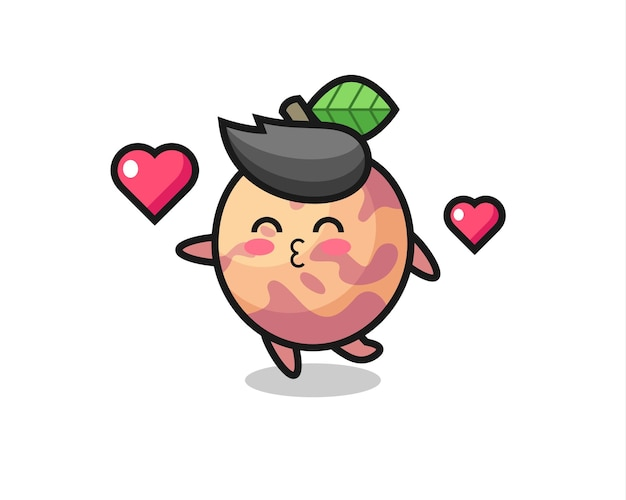 Pluot fruit character cartoon with kissing gesture , cute style design for t shirt, sticker, logo element