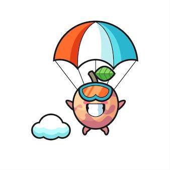 Мультфильм талисмана плода-плода - это прыжки с парашютом со счастливым жестом, милый стиль дизайна для футболки, наклейки, элемента логотипа