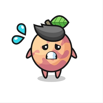 Плут-фруктовый талисман с жестом страха, милый стильный дизайн для футболки, наклейки, элемента логотипа