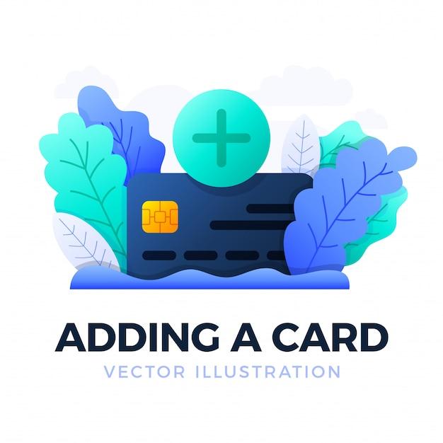 プラスボタンとクレジットカードベクトルイラスト分離。銀行口座を開設する、または医療サービスに支払うことの概念。銀行のクレジットカードを開きます。