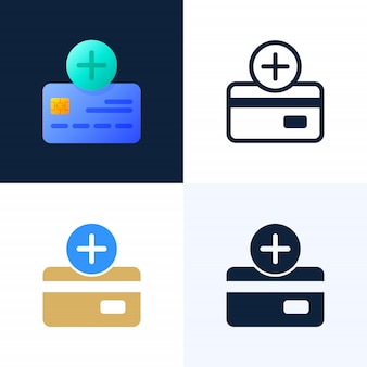 Plus button and credit card vector stock icon set.