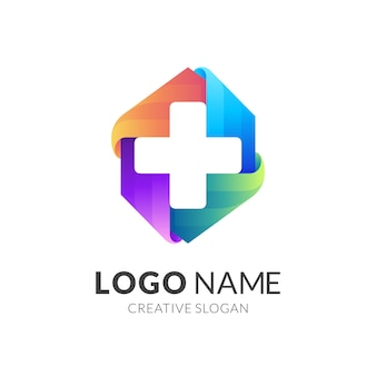 Plus icon medical, square logo with medical design illustration