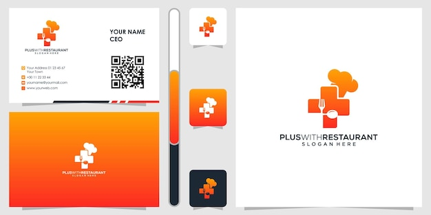 Плюс логотип аптеки с вектором дизайна визитной карточки премиум