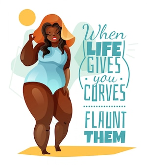 Plus size woman in hat and blue swim suit poster with quote about body
