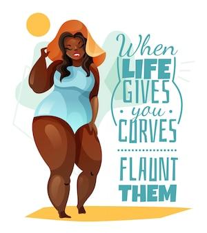 Плюс размер женщина в шляпе и синий купальник плакат с цитатой о теле