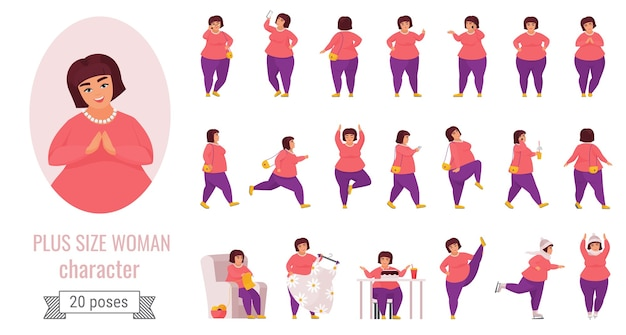 Plus size woman poses set with cartoon cute fat character