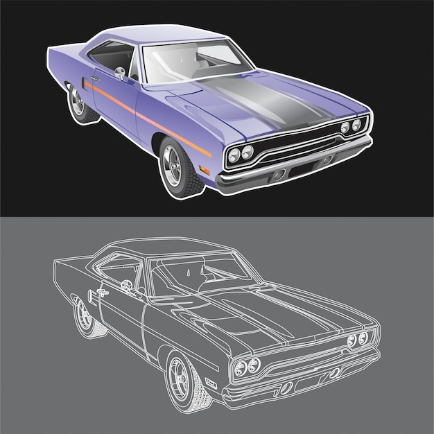 Plymouth road runner car illustration