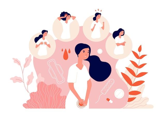 Pms. 여성 복통, 월경 증후군 및 행동 변화.