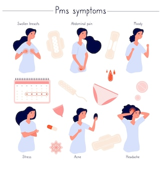 Pms symptoms. female stress, abdominal pain, acne and moody.