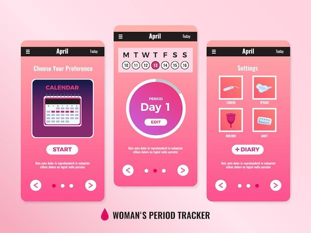 3 つのウィンドウまたはスクリーンショットを備えた pms 女性モバイル アプリ カレンダー デザイン