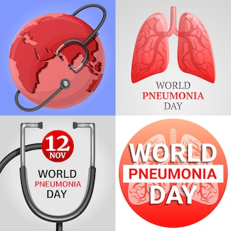Pneumonia banner set. cartoon illustration of pneumonia vector banner set for web design