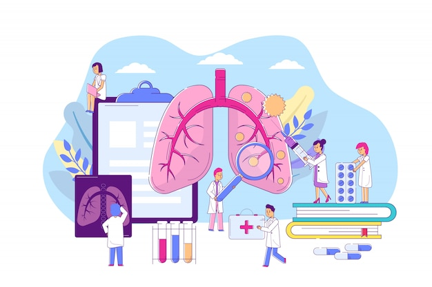 Pneumonia lungs disease,   illustration. respiratory organ illness, medical diagnosis, treatment by professional doctor.