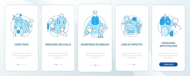 Pneumonia signs onboarding mobile app page screen. cold sweats and chills walkthrough 5 steps graphic instructions with concepts. ui, ux, gui vector template with linear color illustrations