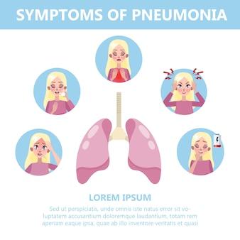 肺炎症状インフォグラフィックイラスト。咳と痛み