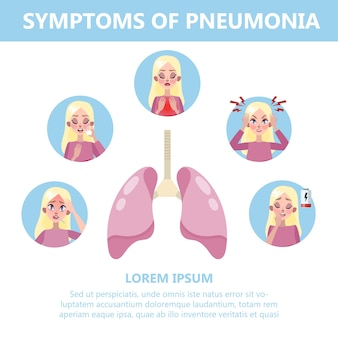 Pneumonia symptoms infographic illustration. cough and pain