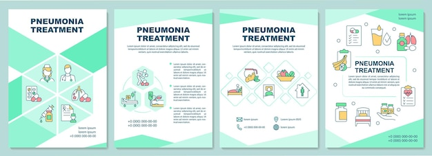 Pneumonia treatment brochure template. prescribe antibiotics, rest. flyer, booklet, leaflet print, cover design with linear icons. vector layouts for presentation, annual reports, advertisement pages