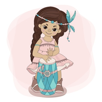 Pocahontas drumインディアンプリンセスヒーロー