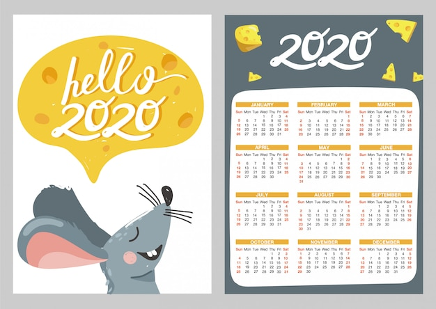 Pocket calendar with illustrations of mouse and cheese.