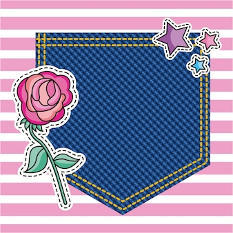 Pocket decorative flower on denim texture background
